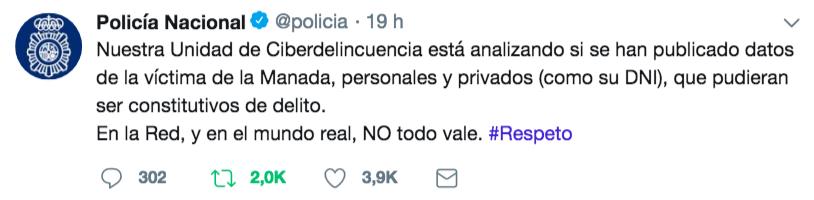 La difusión de datos personales de la víctima de La Manada