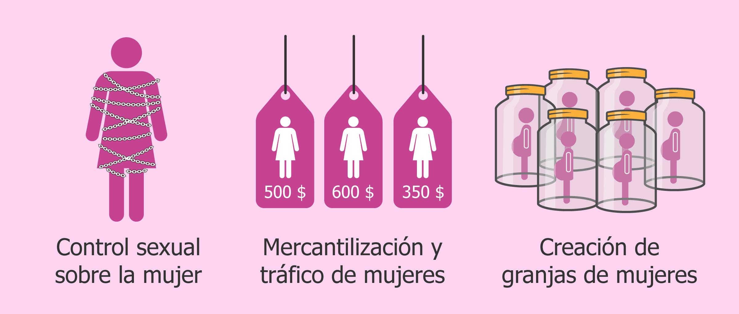 Control sexual sobre la mujer, Mercantilización y tráfico de mujeres, Creación de granjas de mujeres