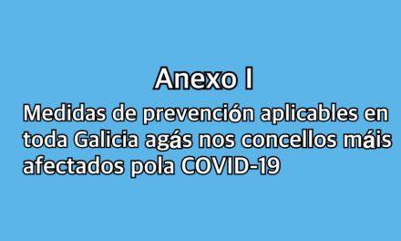 ANEXO I: Medidas de prevención aplicables en toda Galicia, agás nos concellos máis afectados polas medidas da Xunta